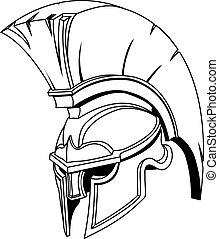 helma, nebo, trojský, spartan, řečtina, ilustrace, římský, gladiator