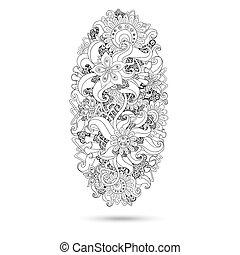 Henna paisley mehndi doodles designu.