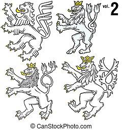 heraldický, 2, lions