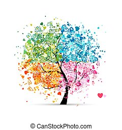 herce, odbobí, -, léto, tvůj, strom, čtyři, podzim, umění, winter., pramen, udělal, design