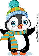 Hezký zimní tučňák