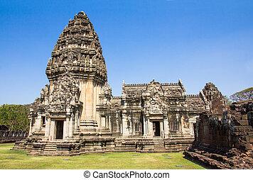 historický, sad, phimai, nakhon, ratchasima, thajsko