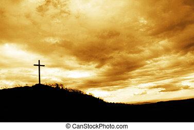 hlava, kříž, kopec
