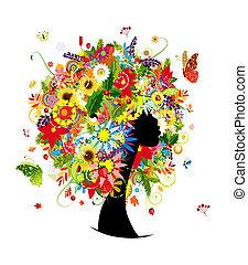 hlavička, manželka, list, účes, 4 období, květiny, design