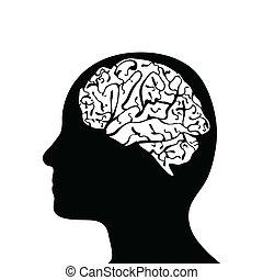 hlavička, silhouetted, mozek