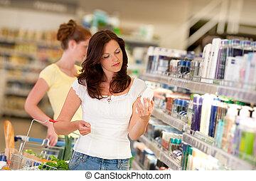 hněď, eny shopping, řada, -, vlas, kosmetický seminář