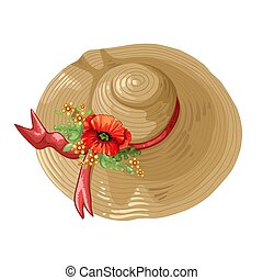 hněď, klobouk, ilustrace, mák