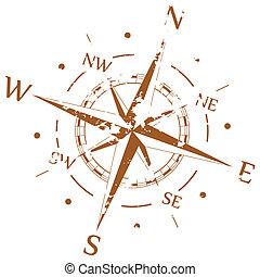 Hnědý grunge vektor kompasu