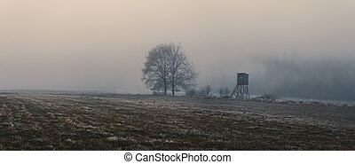 honba, slepý, bojiště, mlha, krajina, kopyto
