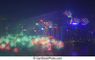 Hong Kong ohňostroj roku