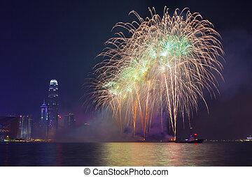 Hong Kongský čínský ohňostroj, nový rok 2002