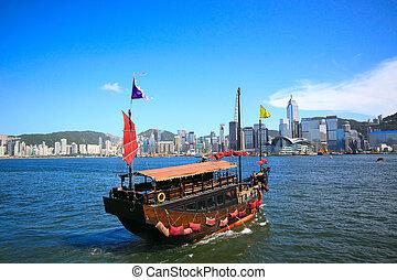 hong, město, plavba, asie, kong, člun