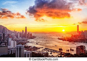 hong, město, západ slunce, kong