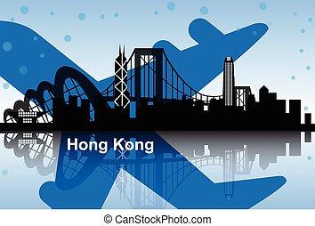 hong, městská silueta, kong