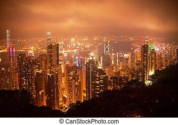 hongkong, večer, peak., viktorie, názor