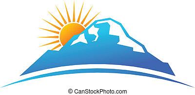 Hora a slunce v horizontovém logu