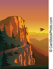 Hora a západ slunce