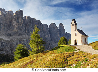 hora, itálie, alps., pas, krajina, církev, druh, hezký