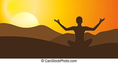 hora, jóga, silný, západ slunce, grafické pozadí, rozjímání