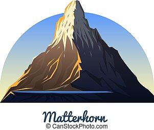Hora Matterhorn. Peaks, krajina brzy za denního světla. Cestování nebo kempování, lezení. Vrch na venkovní kopci v zermatu, switze. Oblast Valais.