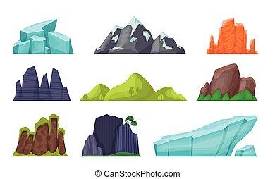 Hora nastavena. Kamenné hory, skály, horské hory, sněhové hory, vrcholy hor, lesy, pouště. Vektorová krajina