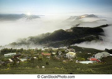 hora, taiwan, krajina, západ slunce, les