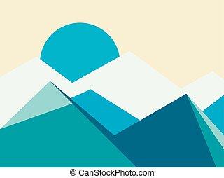 Hora vrcholí plochý styl. Vektorová ilustrace