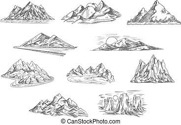 Horská krajina nakreslila nákresy pro přírodu