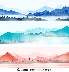 Horská krajina. Silhouette panorama z prasatého lesa a sněhovné vrcholy hor. Vektor dřevo a hory
