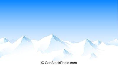 Horská krajina, sněžná horská vrcholy