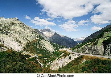 Horská krajina ve Švýcarsku.