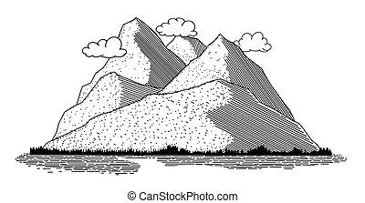 Horská scéna ikona