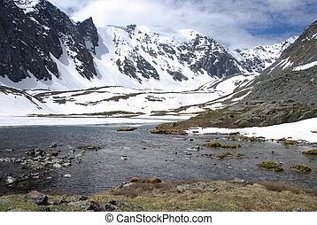 Horské jezero v pozadí s horami