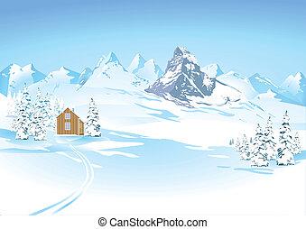 Horské výhledy v zimě