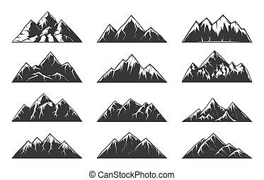 Horské vrcholy sněho, rockové vektory