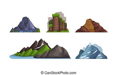 Hory a kopy různých tvarů a barev. Vektorová ilustrace.
