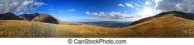 hory, altai, západ slunce, panoráma