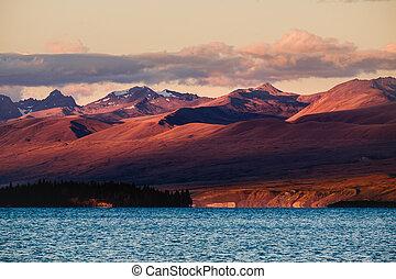 hory, jezero tekapo, dramatický, západ slunce, krajina, názor