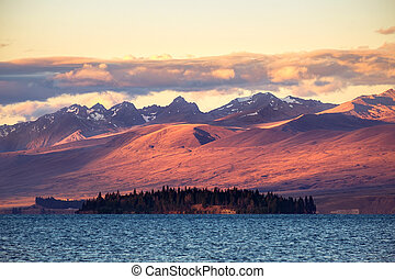 hory, jezero tekapo, západ slunce, krajina, názor