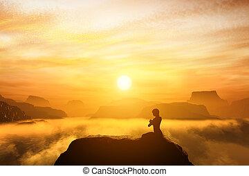 hory, manželka, jóga, sedění, hlava, přemysleně, postavení