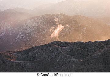 hory, panoráma, sunset.