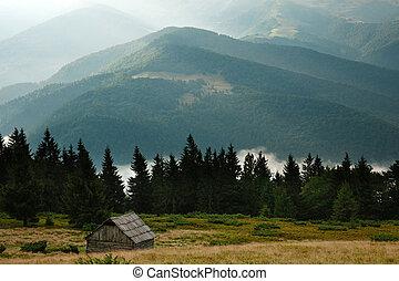 hory, rozednívat se, krajina, země