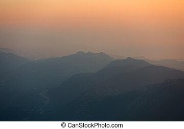 hory, sunset., panoráma