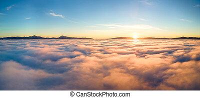 hory, západ slunce, horizon., názor, mračno, daleký, neposkvrněný, zbabělý, nad, anténa, nafouklý