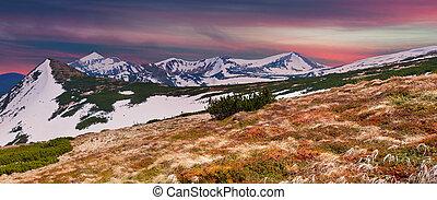 hory, západ slunce, panoráma, pramen
