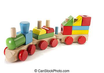 Hračkový vlak vyrobený ze dřeva