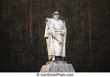 hrdina, leden, kalich, čech, pomník, trocnov, jan, zizka, národnostní, zizka, socha