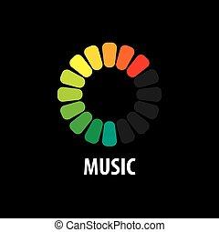 hudba, emblém, vektor