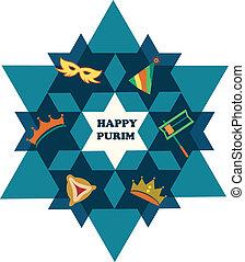 hvězda, židovský, purim., david, mít námitky, dovolená, šťastný