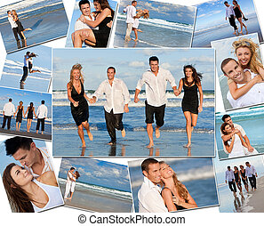 i kdy, montáž, průvodce, kuplovat, dovolená, pláž, šťastný